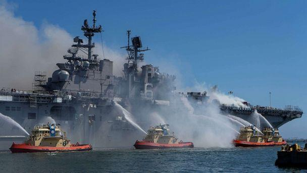 PHOTO: In this July 12, 2020, file photo, boats combat a fire on board the U.S. Navy amphibious assault ship USS Bonhomme Richard at Naval Base San Diego. (US Navy/via Reuters, FILE)
