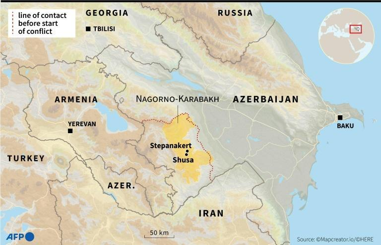 A map of the Nagorno-Karabakh conflict