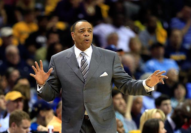 MEMPHIS, TN - MAY 11: Lionel Hollins of the Memphis Grizzlies reacts from the bench during Game Three of the Western Conference Semifinals of the 2013 NBA Playoffs against the Oklahoma City Thunder at FedExForum on May 11, 2013 in Memphis, Tennessee. (Photo by Jamie Squire/Getty Images)