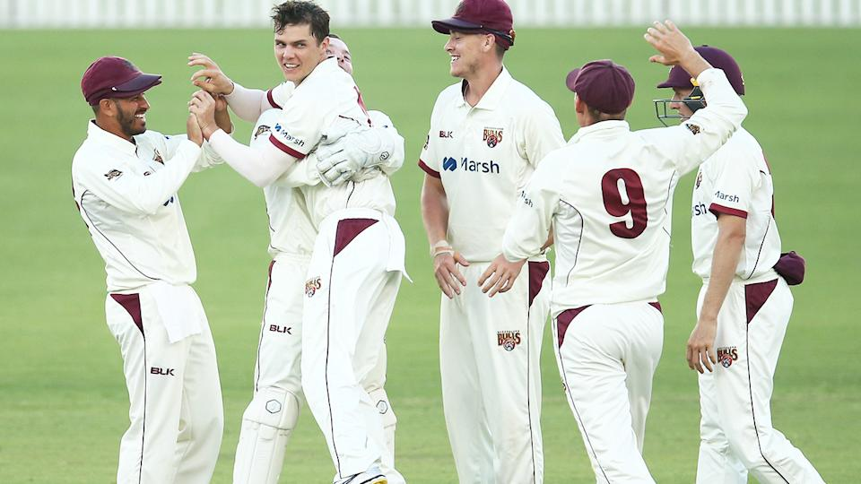 Mitch Swepson, pictured here celebrating the wicket of Daniel Hughes.