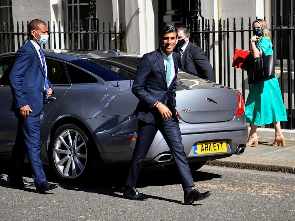The chancellor in Downing Street on Wednesday (Reuters)