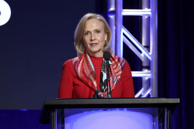 Paula Kerger, President and CEO at PBS speaks at the executive session during the PBS Winter 2020 TCA Press Tour at The Langham Huntington, Pasadena on Friday, Jan. 10, 2020, in Pasadena, Calif. (Photo by Willy Sanjuan/Invision/AP)