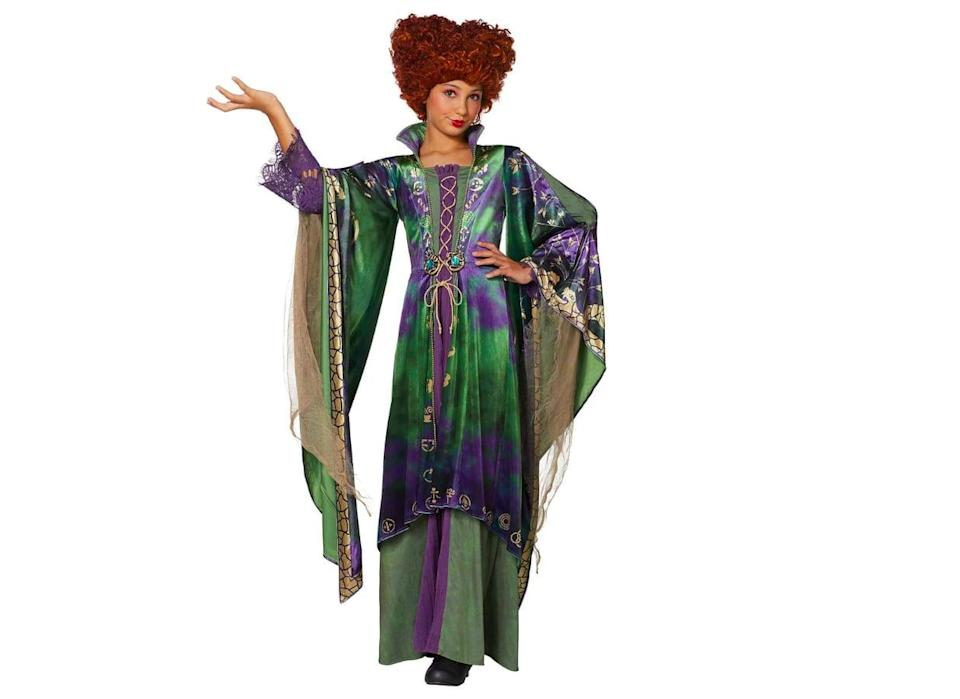 <p>The detail in this <span>Signature Collection Tween Winifred Sanderson Costume</span> ($100) is spot on! It features a long green skirt and long sleeves with purple lace.</p>