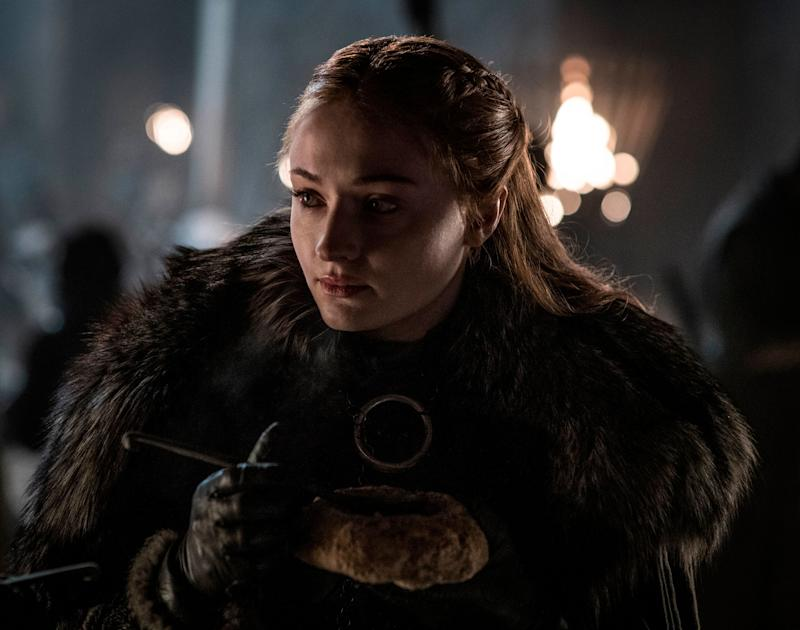 "Sophie Turner portrays Sansa Stark in a scene from ""Game of Thrones,"" which aired April 21, 2019."