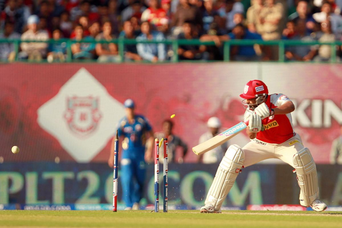Praveen Kumar is bowled by Lasith Malinga during match 69 of the Pepsi Indian Premier League between The Kings XI Punjab and the Mumbai Indians held at the HPCA Stadium in Dharamsala, Himachal Pradesh, India on the on the 18th May 2013. (BCCI)