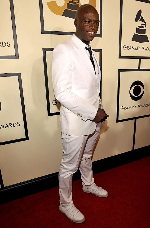 "A Heidi Klum-less Seal struck a pose in his vibrant YSL white suit. The English soul singer and his hit ""Amazing"" were nominated for Best Male Pop Vocal Performance. Lester Cohen/<a href=""http://www.wireimage.com"" target=""new"">WireImage.com</a> - February 10, 2008"