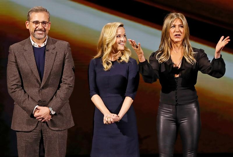 Actors Steve Carell, Reese Witherspoon and Jennifer Aniston speak during an Apple special event at the Steve Jobs Theater in Cupertino