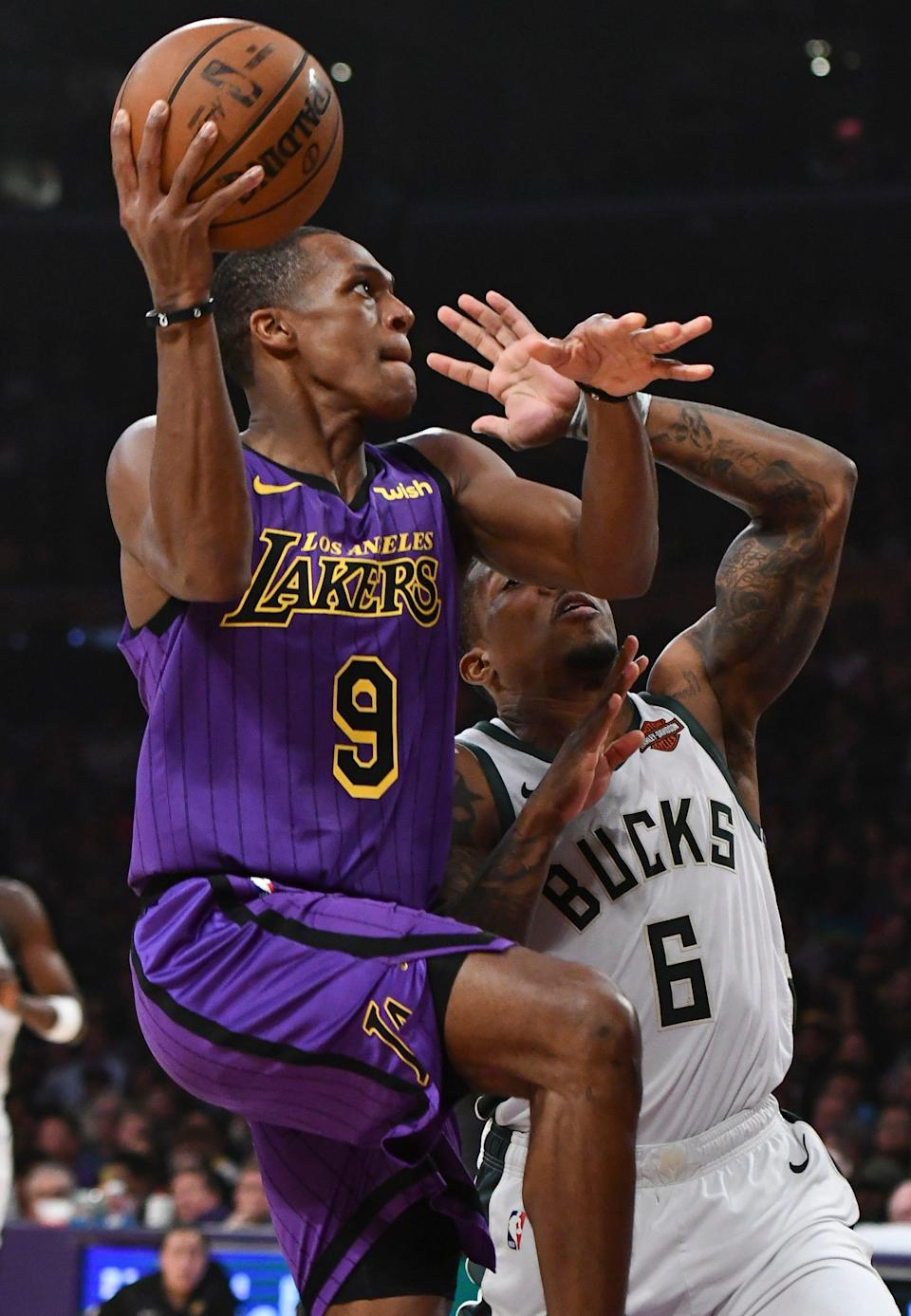 Rajon Rondo (9) was a key piece on the Lakers' roster last season that won a title. But the team did not retain him.