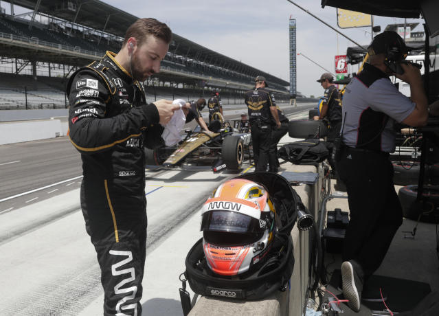 James Hinchcliffe, of Canada, prepares to drive during a practice session for the IndyCar Indianapolis 500 auto race at Indianapolis Motor Speedway in Indianapolis, Thursday, May 17, 2018. (AP Photo/Michael Conroy)