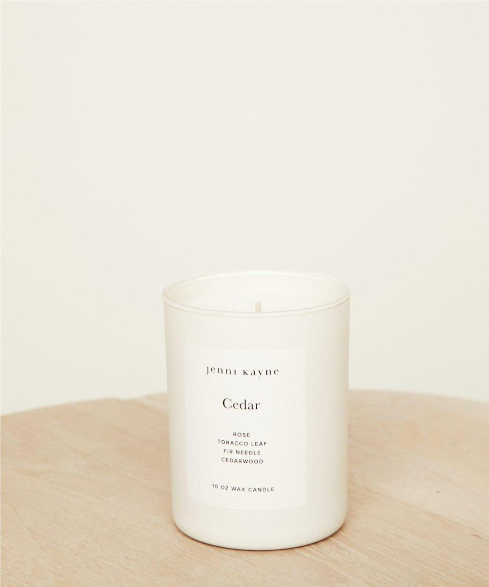 """<h2>Jenni Kayne Cedar Glass Candle</h2><br>Customers rave over this best-selling candle's """"addictive,"""" """"classic,"""" and """"cozy"""" scent. Its notes of rose, tobacco leaf, fir needle, and cedarwood create a refreshing fragrance that complements the season's more traditional smells (spice, amber, ginger, etc.). Give it a try if you're interested in a new approach to autumn aromas.<br><br><em>Shop <strong><a href=""""https://www.jennikayne.com/category/home/bath-and-beauty/cedar-matte-glass-candle"""" rel=""""nofollow noopener"""" target=""""_blank"""" data-ylk=""""slk:Jenni Kayne"""" class=""""link rapid-noclick-resp"""">Jenni Kayne</a></strong></em><br><br><strong>Jenni Kayne</strong> Cedar Glass Candle, $, available at <a href=""""https://go.skimresources.com/?id=30283X879131&url=https%3A%2F%2Fwww.jennikayne.com%2Fcategory%2Fhome%2Fbath-and-beauty%2Fcedar-matte-glass-candle"""" rel=""""nofollow noopener"""" target=""""_blank"""" data-ylk=""""slk:Jenni Kayne"""" class=""""link rapid-noclick-resp"""">Jenni Kayne</a>"""