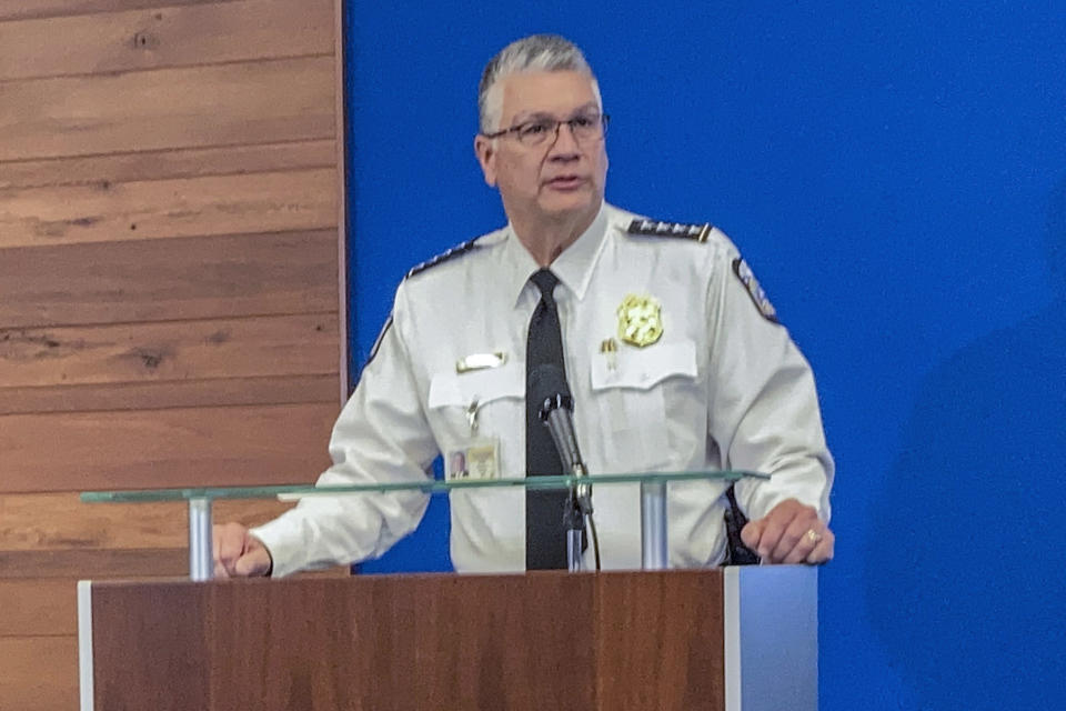 "Interim Columbus Police Chief Michael Woods speaks during a news conference, Wednesday, April 21, 2021, about the Tuesday fatal police shooting of 16-year-old Ma'Khia Bryant, as she swung a knife at two other people in Columbus, Ohio. Woods called the teenagers death a tragedy that he ""sure as hell"" wishes hadn't happened. (AP Photo/Andrew Welsh-Huggins),"