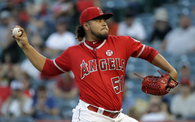 Los Angeles Angels starting pitcher Jaime Barria throws to the Tampa Bay Rays during the first inning of a baseball game, Saturday, Sept. 14, 2019, in Anaheim, Calif. (AP Photo/Marcio Jose Sanchez)