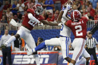 Alabama defensive backs Jared Mayden (21) and Patrick Surtain II (2) break up a pass intended for Duke wide receiver Jalon Calhoun (5) during the first half an NCAA college football game, Saturday, Aug. 31, 2019, in Atlanta. (AP Photo/John Bazemore)
