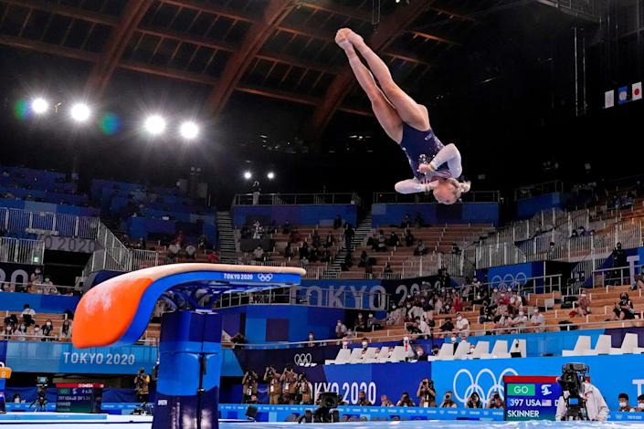MyKayla Skinner completes one of her two vaults during the event final.