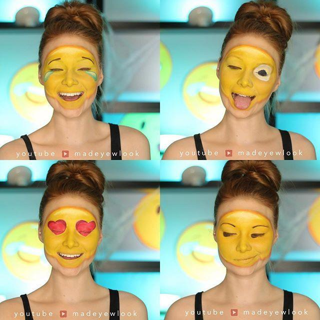 "<p>If you spend all your time texting, why not transform your face into an <a href=""https://www.goodhousekeeping.com/holidays/halloween-ideas/how-to/g3853/homemade-emoji-costumes/?"" rel=""nofollow noopener"" target=""_blank"" data-ylk=""slk:emoji"" class=""link rapid-noclick-resp"">emoji</a> for Halloween? This tutorial shows how to create five different expressions using just a few products.</p><p><a class=""link rapid-noclick-resp"" href=""https://www.amazon.com/Mehron-Makeup-Liquid-Paint-YELLOW/dp/B00886ITTC/ref=sr_1_1_sspa?tag=syn-yahoo-20&ascsubtag=%5Bartid%7C10055.g.2599%5Bsrc%7Cyahoo-us"" rel=""nofollow noopener"" target=""_blank"" data-ylk=""slk:SHOP YELLOW FACE PAINT"">SHOP YELLOW FACE PAINT</a></p><p><strong>RELATED: </strong><a href=""https://www.goodhousekeeping.com/holidays/halloween-ideas/how-to/g3853/homemade-emoji-costumes/"" rel=""nofollow noopener"" target=""_blank"" data-ylk=""slk:30 Homemade Emoji Costumes That Are Perfect for Halloween"" class=""link rapid-noclick-resp"">30 Homemade Emoji Costumes That Are Perfect for Halloween</a></p><p><a href=""https://www.instagram.com/p/84Kd5qAulC/&hidecaption=true"" rel=""nofollow noopener"" target=""_blank"" data-ylk=""slk:See the original post on Instagram"" class=""link rapid-noclick-resp"">See the original post on Instagram</a></p>"