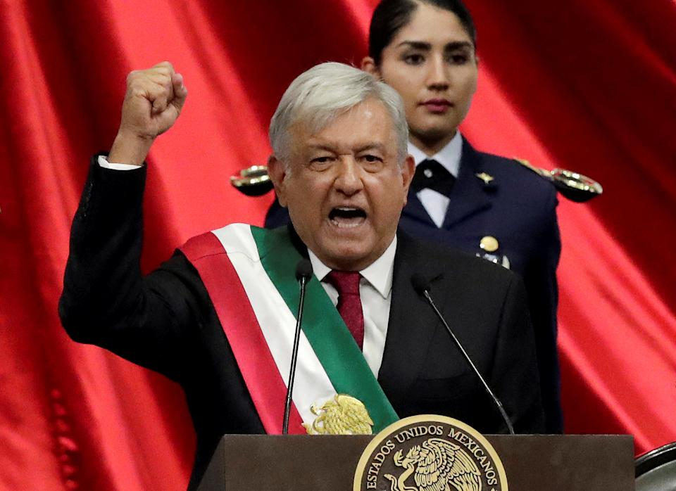 Mexico's new President Andres Manuel Lopez Obrador gestures during his inauguration ceremony at Congress, in Mexico City, Mexico December 1, 2018. REUTERS/Henry Romero     TPX IMAGES OF THE DAY