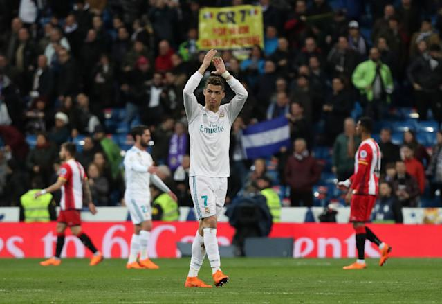 Soccer Football - La Liga Santander - Real Madrid vs Girona - Santiago Bernabeu, Madrid, Spain - March 18, 2018 Real Madrid's Cristiano Ronaldo applauds fans after the match REUTERS/Sergio Perez