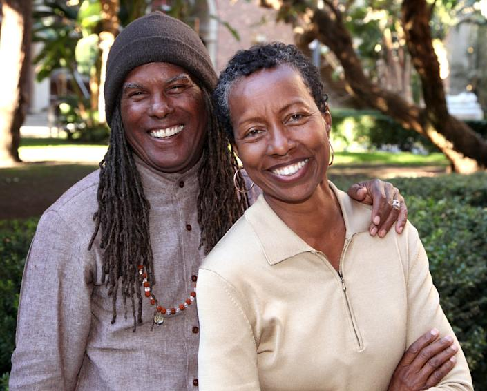 Minister/author Michael Beckwith and singer/songwriter Rickie Byars in December 2014 in Los Angeles, California. Byars was the former Music and Arts Director who left the Church in 2018.