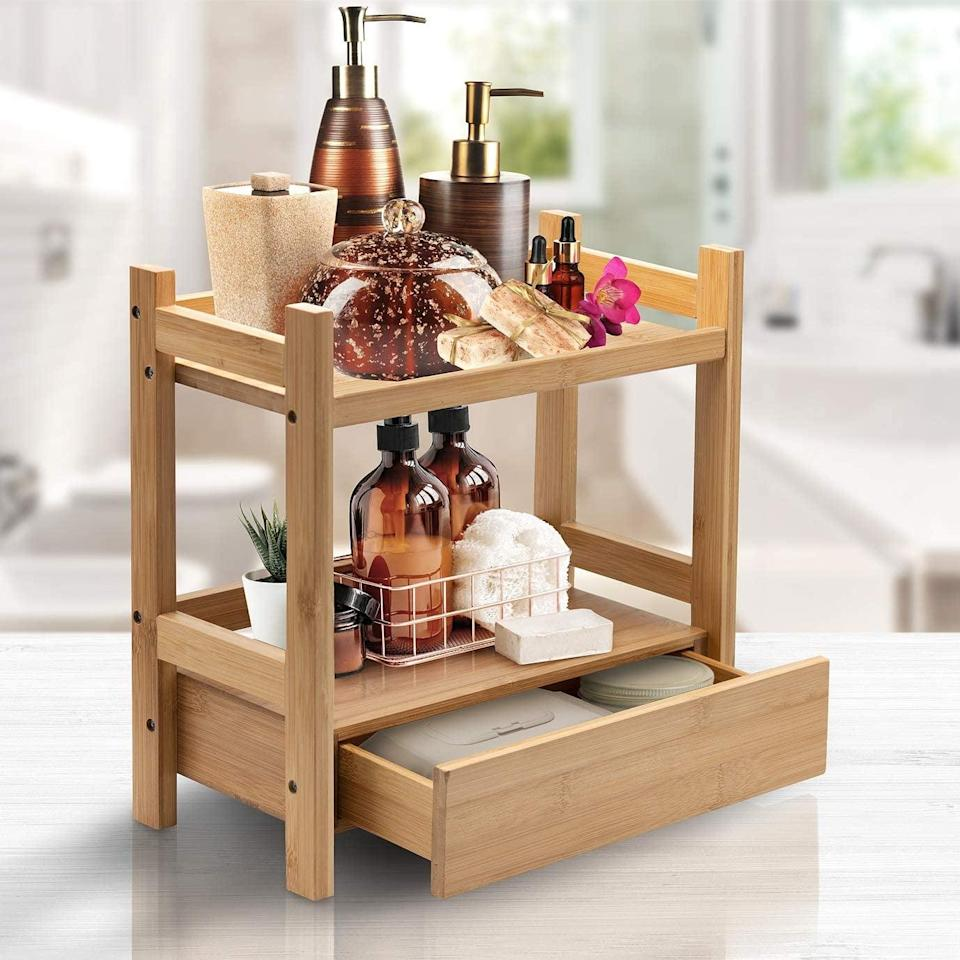 <p>This <span>Sorbus 2-Tier Bamboo Makeup Organizer</span> ($25) is perfect for the minimalist.</p>