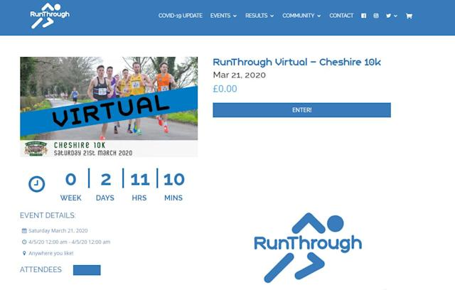 Organisers offer entrants the chance to run the Cheshire 10K virtually (runthrough.co.uk).