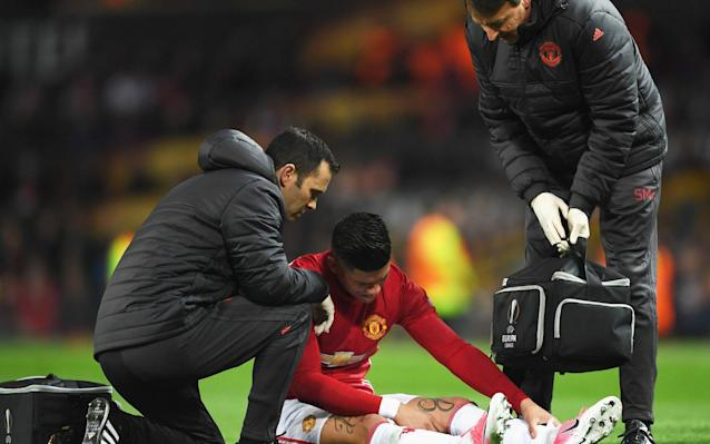 <span>Marcos Rojo suffered injury against Anderlecht</span>