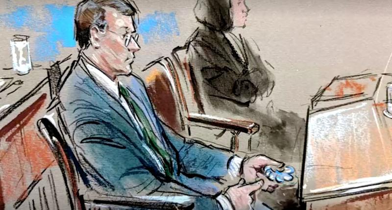 Court sketches showed senators openly playing with fidget spinners (Photo: Reuters )