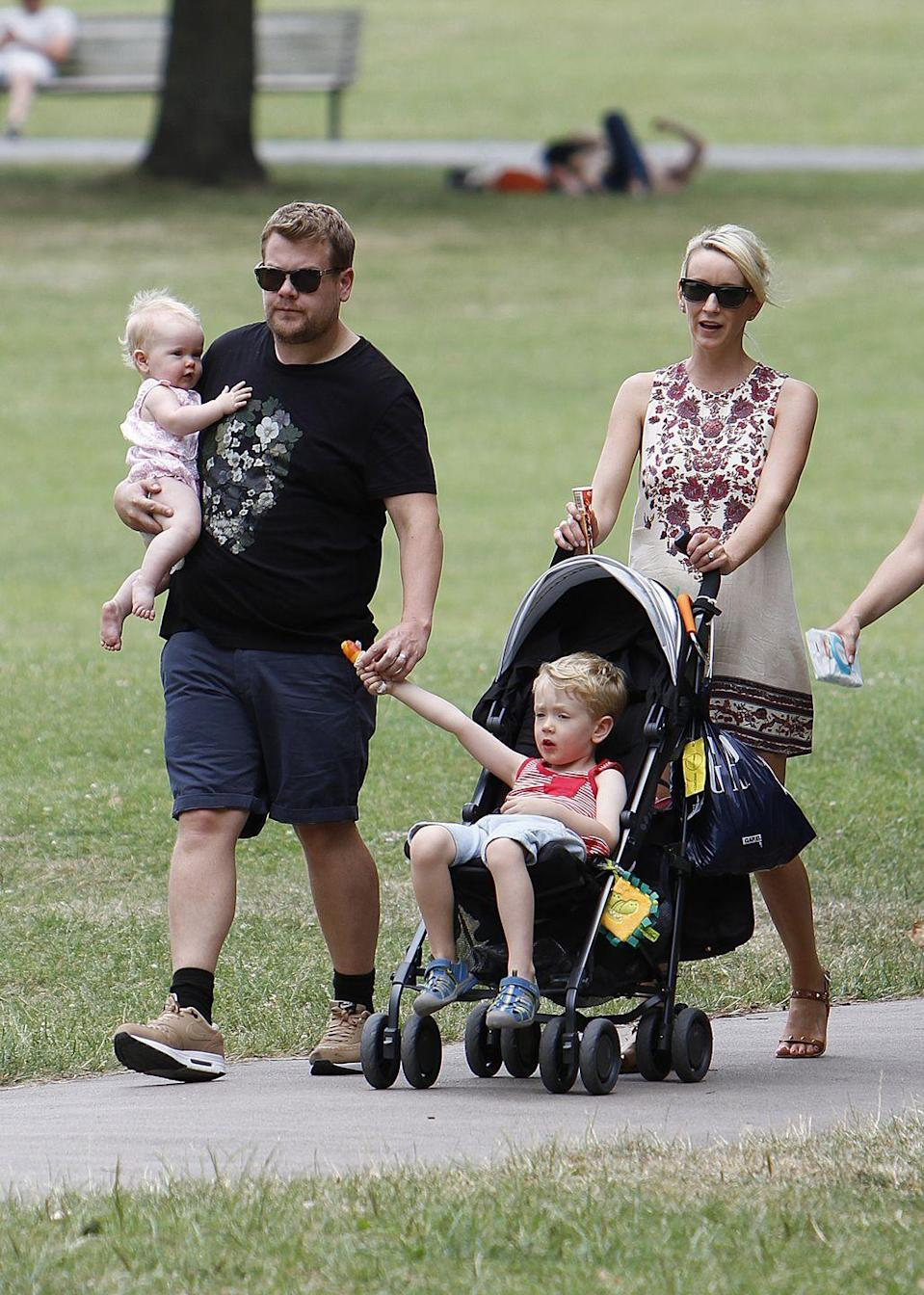 """<p><strong>Children</strong>: Max Corden (9), Carey Corden (5), Charlotte Corden (2)</p><p>Our favorite carpool karaoke and <a href=""""https://www.oprahmag.com/entertainment/tv-movies/a28084061/michelle-obama-james-corden-dodgeball-late-late-show/"""" rel=""""nofollow noopener"""" target=""""_blank"""" data-ylk=""""slk:The Late Late Show host"""" class=""""link rapid-noclick-resp""""><em>The Late Late Show</em> host</a> regularly hangs with famous celebrities, but still makes time for his three young children and <a href=""""https://www.oprahmag.com/entertainment/tv-movies/a30262866/james-corden-wife-julia-carey/"""" rel=""""nofollow noopener"""" target=""""_blank"""" data-ylk=""""slk:his wife Julia Carey, who he calls &quot;the most beautiful woman in the world.&quot;"""" class=""""link rapid-noclick-resp"""">his wife Julia Carey, who he calls """"the most beautiful woman in the world.""""</a></p>"""