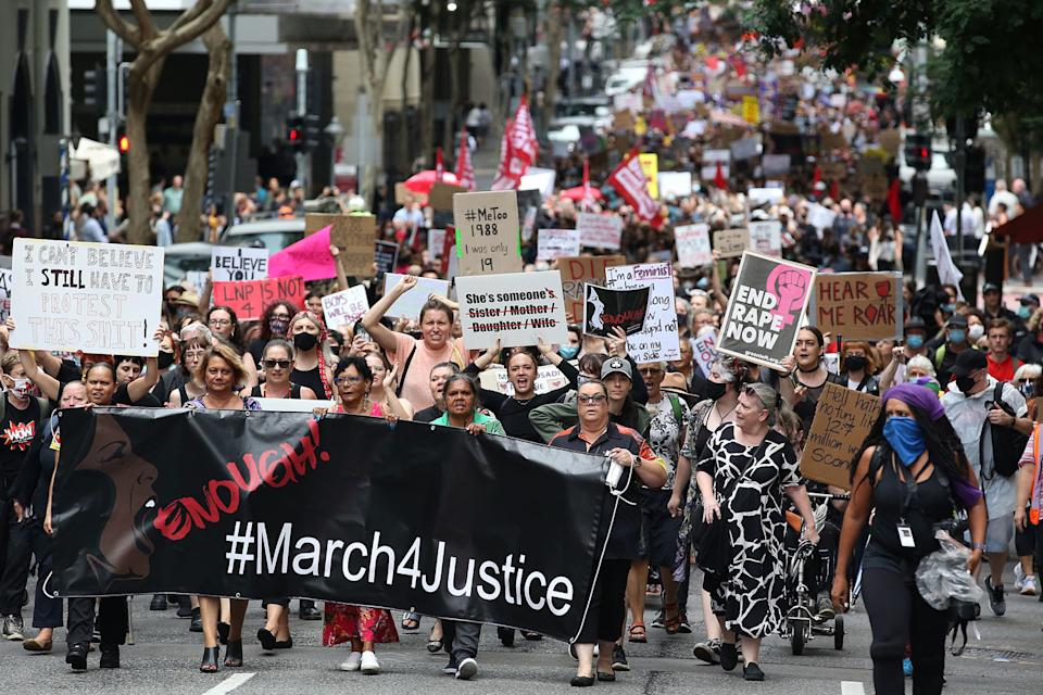 """""""March 4 Justice"""" rallies across Australia called for action against gendered violence in Parliament as news of the alleged rape of former Brittany Higgins at Parliament House and allegations that Attorney-General Christian Porter raped a 16-year-old gear when he was 17 in 1988 continue to cause outrage. Source: Getty Images"""