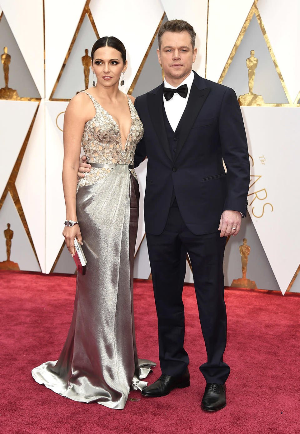 <p>Luciana Barroso and Matt Damon arrive at the Oscars on Sunday, Feb. 26, 2017, at the Dolby Theatre in Los Angeles. (Photo by Jordan Strauss/Invision/AP) </p>