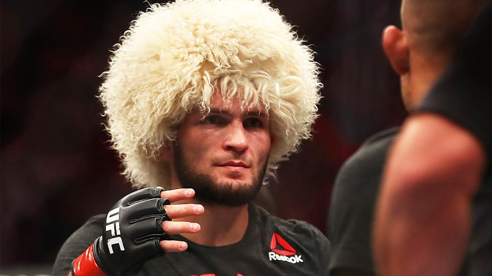 Khabib Nurmagomedov (pictured) after his bout with Justin Gaethje.
