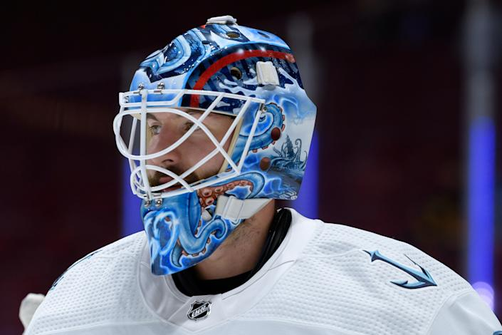 VANCOUVER, BC - OCTOBER 05: Seattle Kraken goaltender Chris Driedger (60) looks up ice during warmup prior to their preseason NHL game against the Vancouver Canucks on October 5, 2021 at Rogers Arena in Vancouver, British Columbia, Canada. (Photo by Derek Cain/Icon Sportswire via Getty Images)