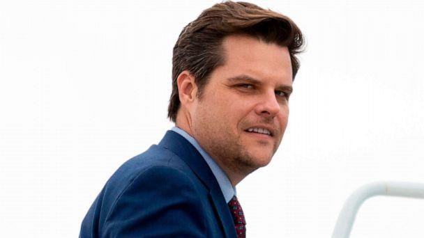 PHOTO: Rep. Matt Gaetz boards Air Force One in Orlando, Fla., on March 9, 2020. (Jim Watson/AFP via Getty Images, FILE)