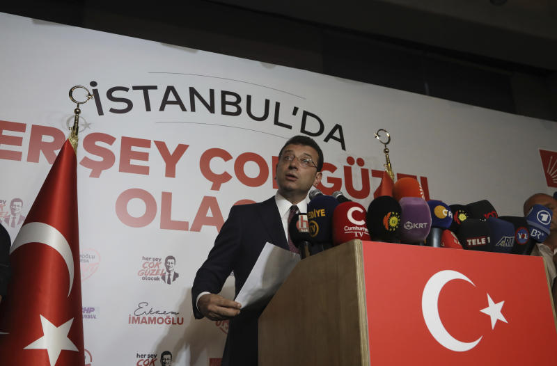 Ekrem Imamoglu, candidate of Turkey's secular opposition Republican People's Party, makes a statement after his election victory, in Istanbul, Sunday, June 23, 2019. Turkish President Recep Tayyip Erdogan has congratulated Imamoglu who won a repeat mayoral election in Istanbul and defeated Erdogan's candidate for the second time. (AP Photo/Burhan Ozbilici)