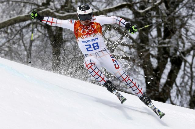 Ondrej Bank of the Czech Republic skis during the first run of the men's alpine skiing giant slalom event at the 2014 Sochi Winter Olympics at the Rosa Khutor Alpine Center February 19, 2014. REUTERS/Stefano Rellandini (RUSSIA - Tags: SPORT SKIING OLYMPICS)