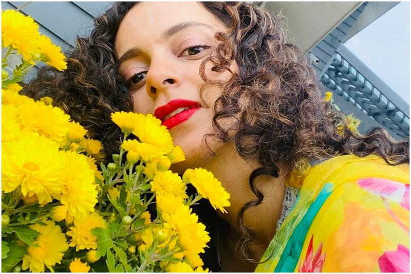 Kangana Ranaut Shares a Bunch of Smiling Photos Posing with Bright Yellow Flowers