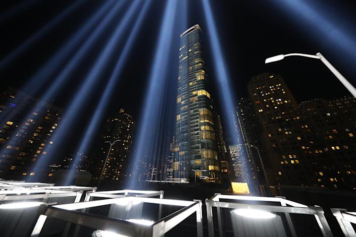 <p>Some of the 887,000-watt xenon light bulbs positioned into two 48-foot squares — echoing the shape and orientation of the Twin Towers — on Sept. 5, 2018. (Photo: Gordon Donovan/Yahoo News) </p>