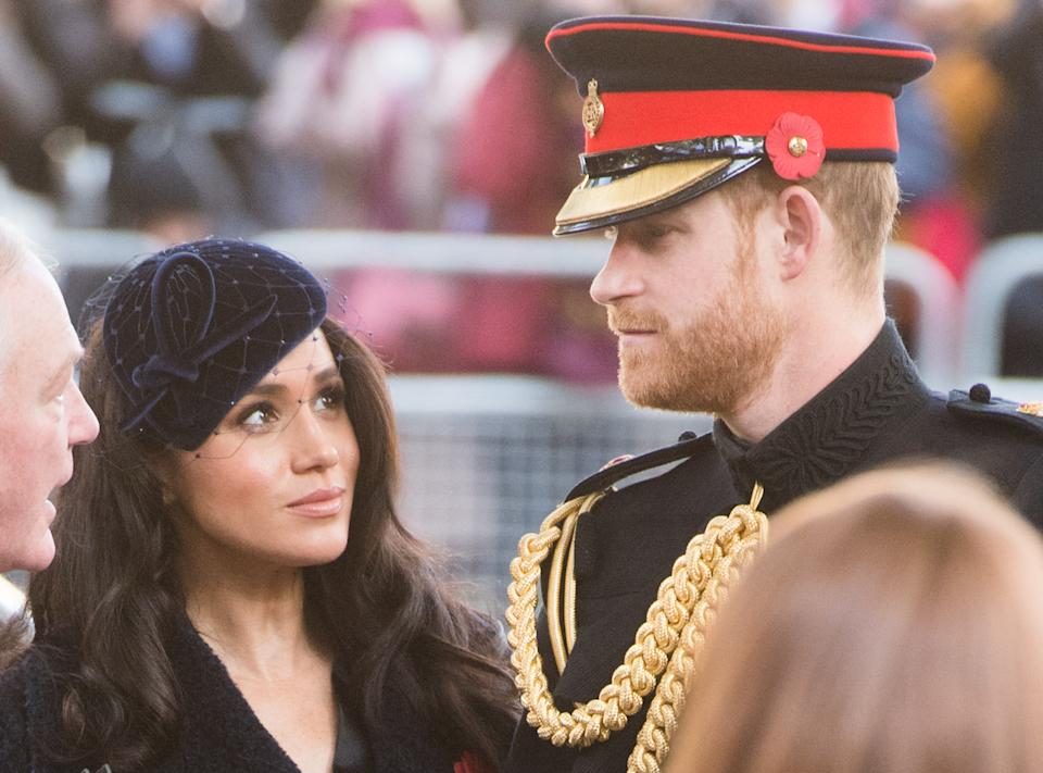 LONDON, ENGLAND - NOVEMBER 07: Prince Harry, Duke of Sussex, Meghan, Duchess of Sussex  attend the 91st Field of Remembrance at Westminster Abbey on November 07, 2019 in London, England. (Photo by Samir Hussein/WireImage)