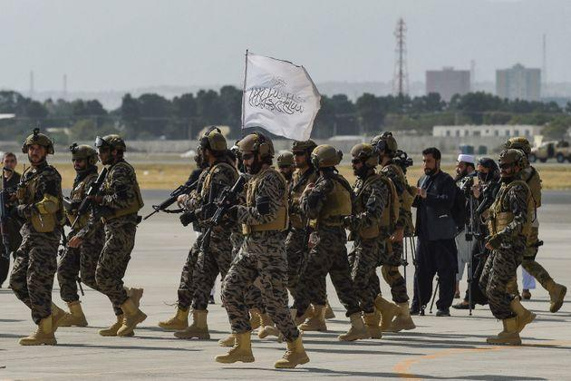 Members of the Taliban Badri 313 military unit arrive at the Kabul airport in Kabul on August 31, 2021, after the US has pulled all its troops out of the country to end a brutal 20-year war -- one that started and ended with the hardline Islamist in power. (Photo by WAKIL KOHSAR / AFP) (Photo by WAKIL KOHSAR/AFP via Getty Images) (Photo: WAKIL KOHSAR via Getty Images)