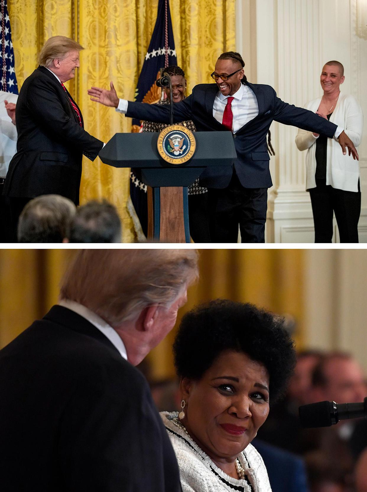 Gregory Allen, a First Step Act beneficiary, second from right, shakes hands with President Donald Trump, after speaking at the 2019 Prison Reform Summit and First Step Act Celebration in the East Room of the White House in Washington, Monday, April 1, 2019. (AP Photo/Andrew Harnik) President Donald Trump, left, listens as former prisoner Alice Johnson, right, speaks at the 2019 Prison Reform Summit and First Step Act Celebration in the East Room of the White House in Washington, Monday, April 1, 2019. (AP Photo/Susan Walsh)