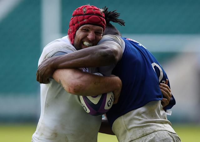Rugby Union - England Training - Twickenham Stadium, London, Britain - February 16, 2018 England's James Haskell and Maro Itoje during training Action Images via Reuters/Adam Holt