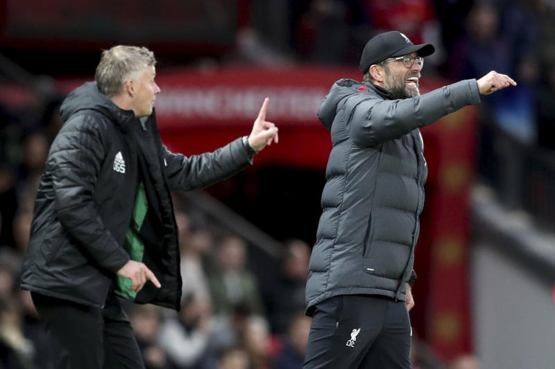 Ole Gunnar Solskjaer (left) and Manchester United remained unbeaten in their last six matches at Old Trafford against Liverpool. (AP)