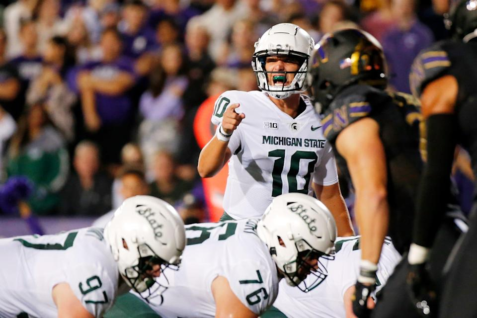 Michigan State's offensive line allowed just one sack of quarterback Payton Thorne (10) on Friday at Northwestern, and it was the only negative run play in a 326-yard performance that was the Spartans' highest rushing total since 2014.