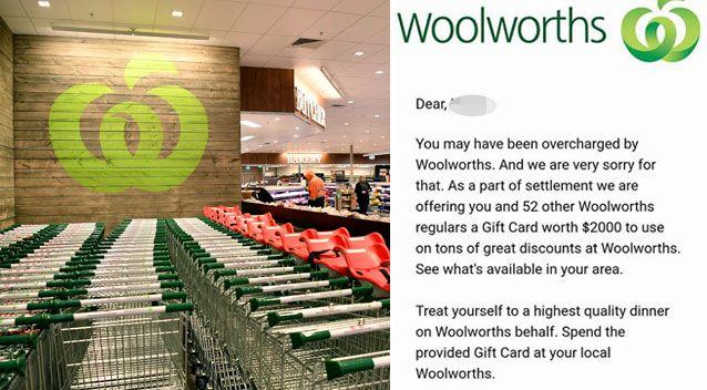 Woolworths has referred the scam email (right) to the ACCC. Source: AAP/ Facebook