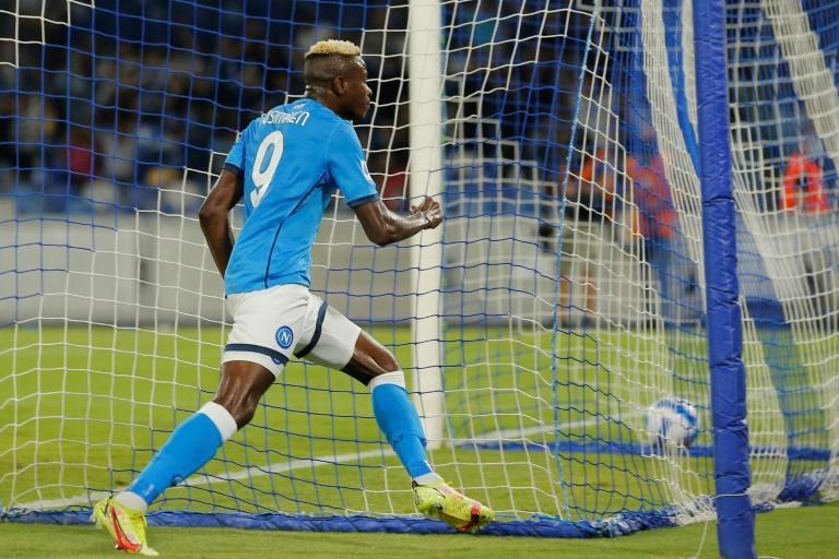 Victor Osimhen's opener against Cagliari was his fourth Serie A goal this season (AFP/Carlo Hermann)
