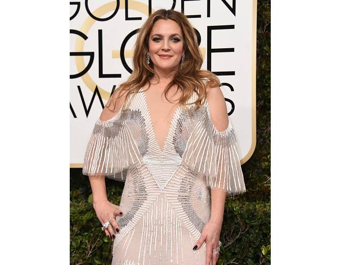 Drew Barrymore in $2.5-milion in Harry Winston diamonds at the Golden Globes. Photo: VALERIE MACON/AFP/Getty Images; Jewels courtesy