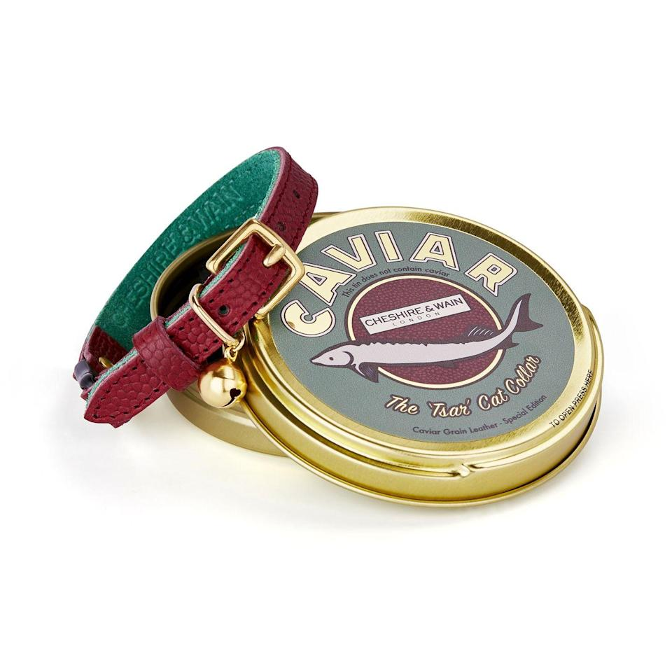 """<p>Made from embossed 'caviar grain' burgundy leather with green suede lining, Cheshire & Wain's collars are fit for the fanciest of felines. Designs feature solid brass hardware and stitched detailing, as well as a breakaway safety clip. Plus, its caviar tin packaging can be used for stashing away treats. £55, <a href=""""https://www.cheshireandwain.com/"""" rel=""""nofollow noopener"""" target=""""_blank"""" data-ylk=""""slk:cheshireandwain.com"""" class=""""link rapid-noclick-resp"""">cheshireandwain.com </a></p>"""