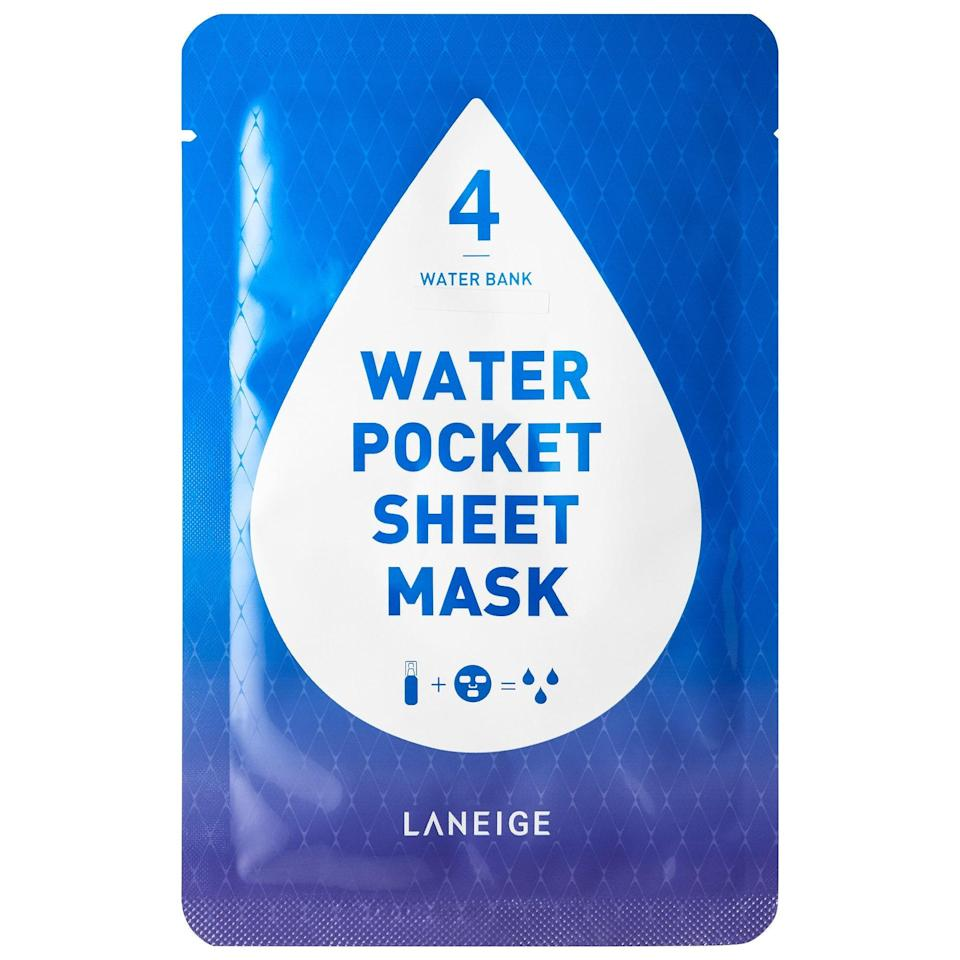 "<p>There are six version of Laneige's Water Pocket Sheet Mask, and they're all absolutely heavenly. We're especially partial, however, to the Water Bank edition, which is packed with super-hydrating ionized mineral water. It fits remarkably well for all 20 minutes it's meant to stay on, and it leaves skin noticeably fresh.</p> <p><strong>$6</strong> (<a href=""https://shop-links.co/1701788797325677111"" rel=""nofollow noopener"" target=""_blank"" data-ylk=""slk:Shop Now"" class=""link rapid-noclick-resp"">Shop Now</a>)</p>"