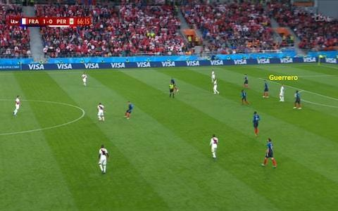 <span>Guerrero isolated upfront as France defend well</span> <span>Credit: BBC </span>