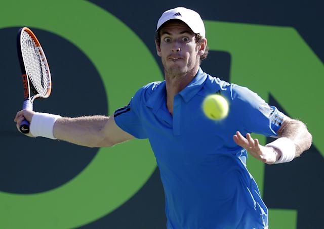 Andy Murray, of Great Britain, returns to Jo-Wilfried Tsonga, of France, at the Sony Open Tennis tournament, Tuesday, March 25, 2014, in Key Biscayne, Fla. Murray won 6-4, 6-1. (AP Photo/Lynne Sladky)