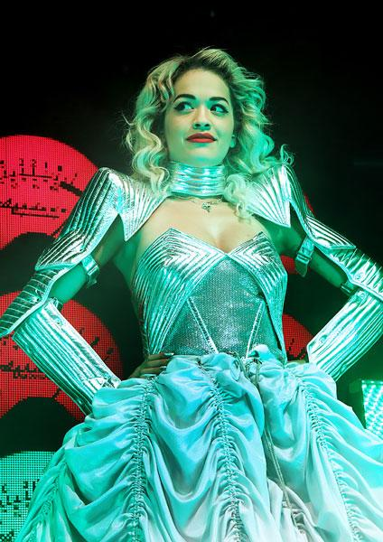 <b>Rita Ora's Emilio Pucci Radioactive tour wardrobe <br></b><br>The 22-year-old singer sported the metallic Pucci dress on stage which featured corset style top and straight arms.<br><br>© WENN